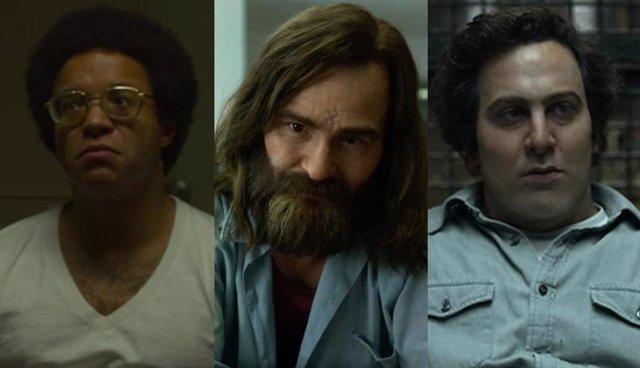 De izquierda a derecha las versiones de Wayne Williams, Charles Manson y David Berkowitz en la segunda temporada de Mindhunter