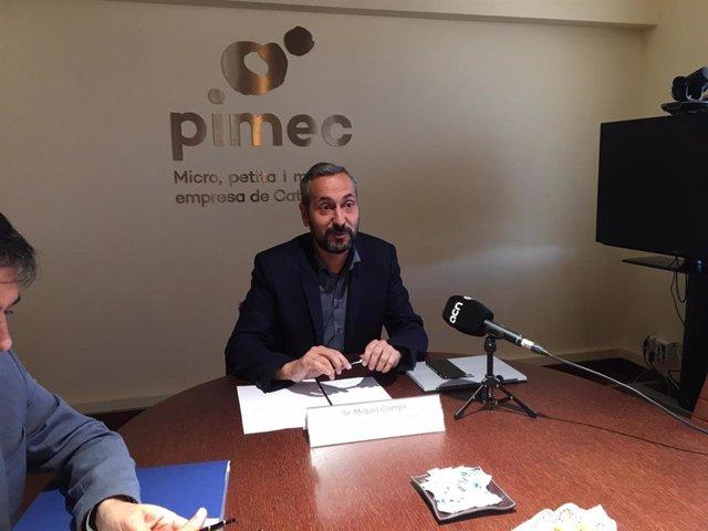 El president d'Autnoms Pimec, Miquel Camps, en roda de premsa