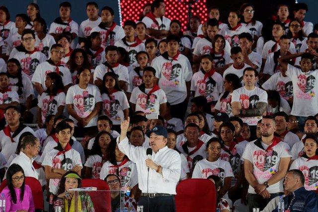Daniel Ortega durante un acto en Managua