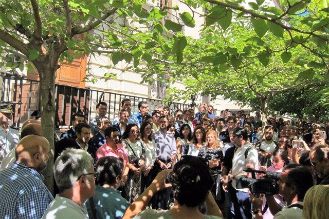 Concentración en respulsa por el presunto asesinato machista ocurrido en Jaén.