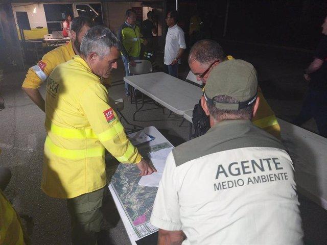 Efectivos trabajan en el incendio forestal declarado en Estepona