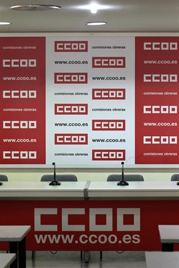 Sede de CCOO, Sala de rueda de prensa de Comisiones Obreras, logo de CCOO