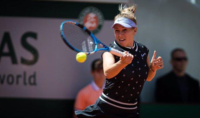 Amanda Anisimova durante un partido en Roland Garros 2019