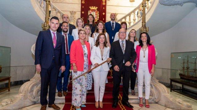 Ana Belén Castejón cuando fue reelegida alcaldesa de Cartagena tras pactar con PP y Cs