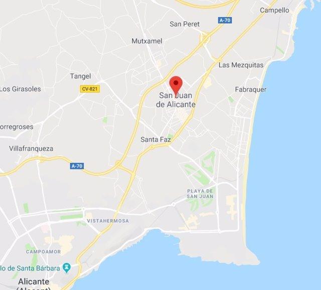 Sant Joan d'alacant, en captura del Google Maps