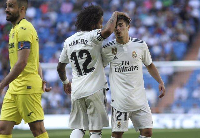 Brahim junto a Marcelo en el Real Madrid-Villarreal de LaLiga Santander 2018-2019