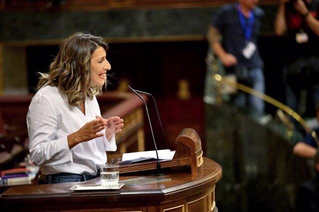 La diputada de Galicia en Común Yolanda Díaz durante la primera jornada del Debate de Investidura 2019