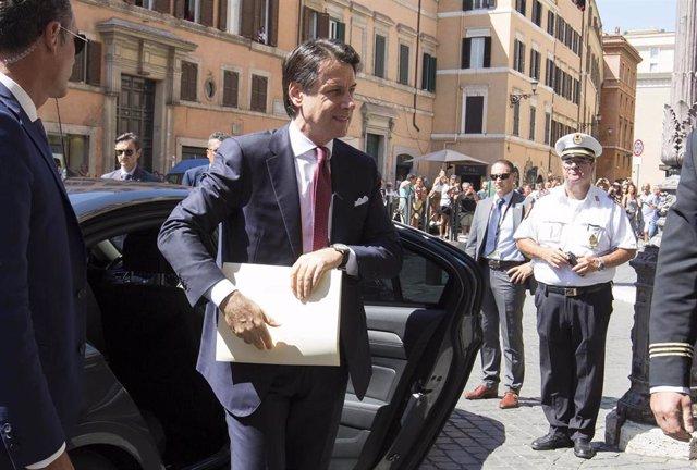 Giuseppe Conte llega al Senado