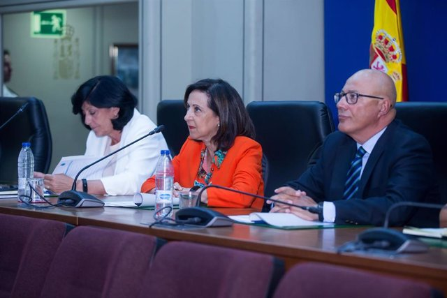 Imagen de la ministra de Defensa en funciones, Margarita Robles, mientras realiza una videoconferencia con los jefes de los contingentes españoles destacados en el exterior.
