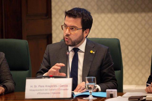 El vicepresidente de la Generalitat, Pere Aragonès, en una imagen de archivo compareciendo en el Parlament.