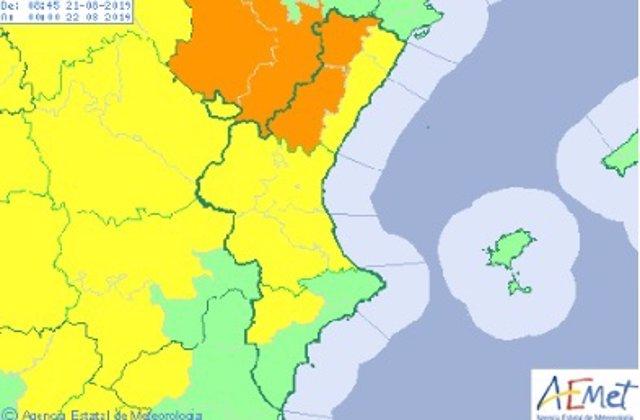 Mapa Comunitat Valenciana para este miércoles
