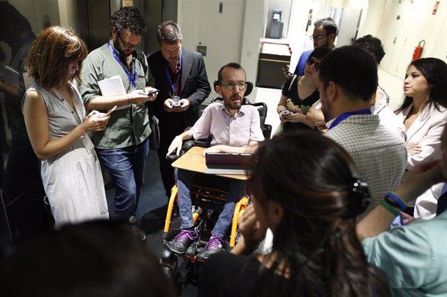 El jefe negociador y secretario de Acción de Podemos, Pablo Echenique
