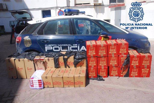 Cajetillas de tabaco requisadas por la Policía Nacional.