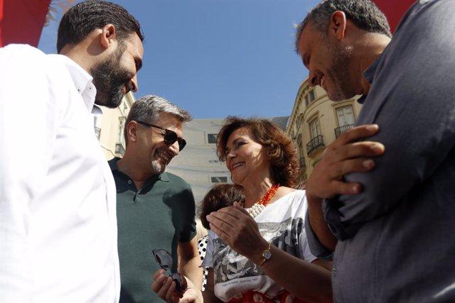 La secretria d'Igualtat del PSOE i vicepresidenta del Govern en funcions, Carmen Calvo,en la fira de Mlaga