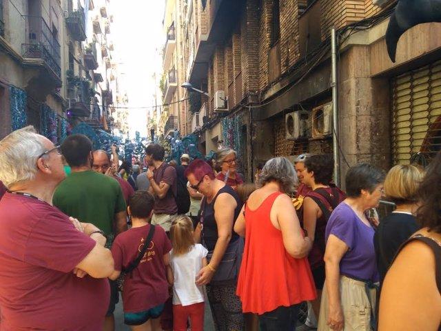Concentració a Gràcia per l'incendi al carrer Llibertat