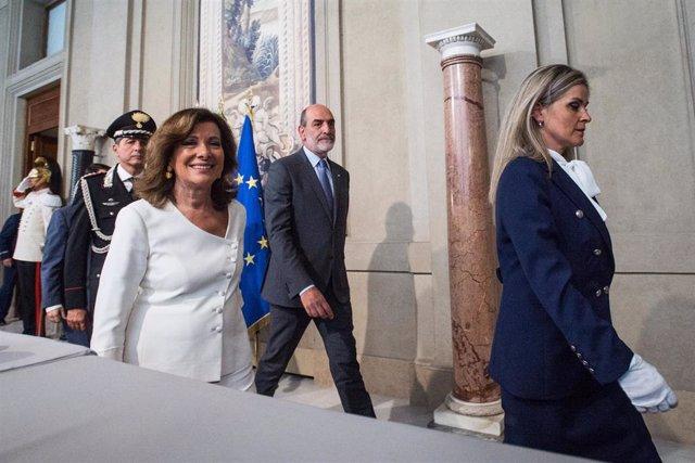 Maria Elisabetta Alberti Casellati llega a la sede de la Presidencia italiana