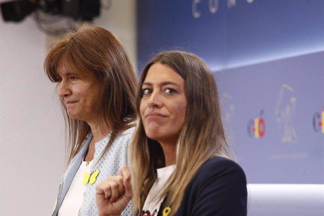 La portaveu de Junts per Catalunya (JxCAT), Laura Borrs i la vicepresidenta del PdeCat, Miriam Nogueras,  roda de premsa al Congrés