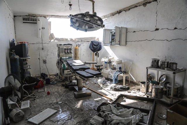 Interior de un hospital bombardeado en Idlib