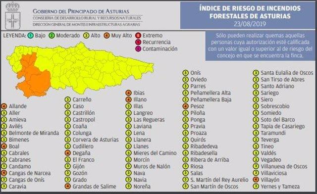 Riesgo de incendios en Asturias, 23 de agosto de 2019.