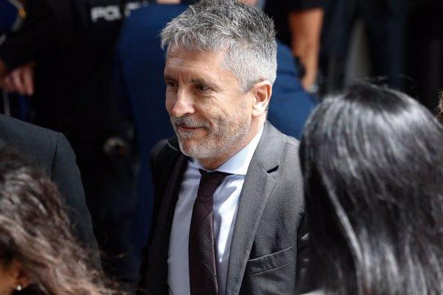 El ministro del Interior en funciones, Fernando Grande-Marlaska, a la salida de