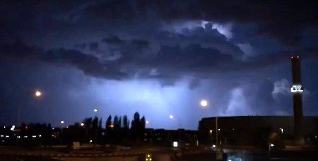 Imagen de la fuerte tormenta de ayer, 21 de agosto de 2019, en la ciudad de Madrid..