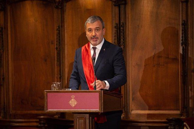 El regidor del PSC Jaume Collboni en la seva intervenció durant el ple de constitució de l'Ajuntament de Barcelona.
