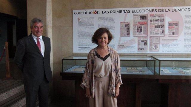 Carmen Calvo con Lucrecio Fernández