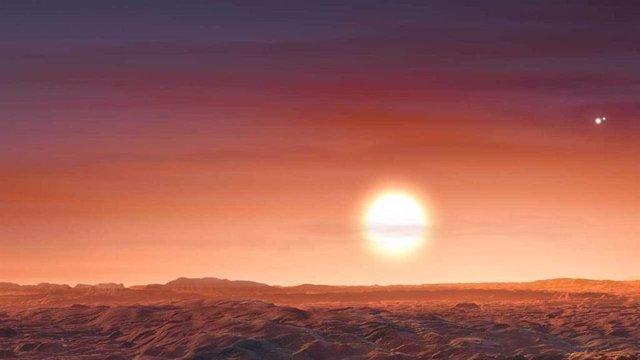 Recreación del paisaje en superficie del nuevo planeta LTT 1445 A b