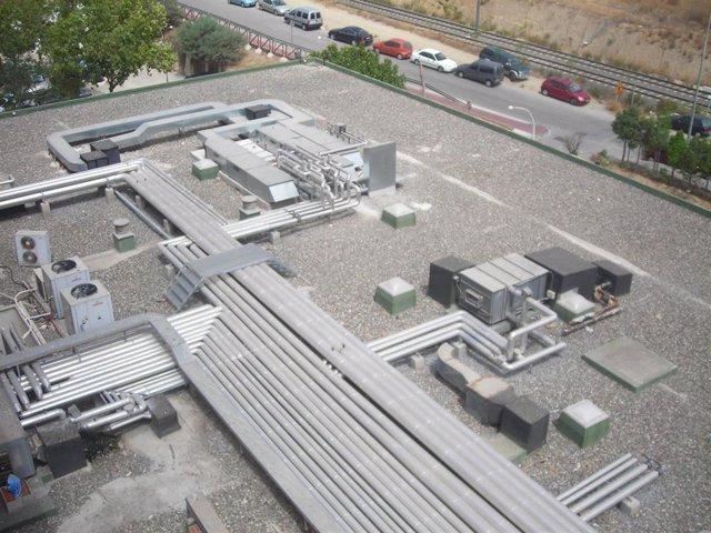 Cubierta del Hospital Comarcal de La Axarquía, que será utilizado como edificio de balance energético cero.