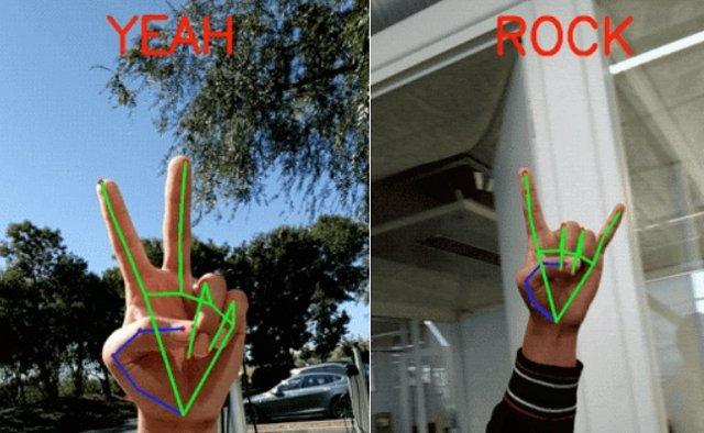 Captura de la herramienta de detección de manos y de gestos de Google