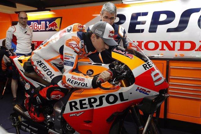 El piloto español Jorge Lorenzo, del equipo Repsol Honda de MotoGP.
