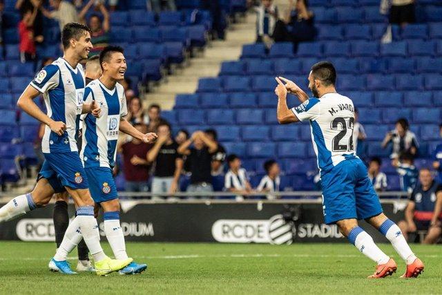 Matías Vargas celebra el tercer gol del Espanyol