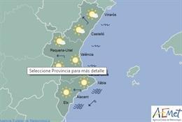 Mapa del tiempo en la Comunitat Valenciana para este viernes, 23 de agosto