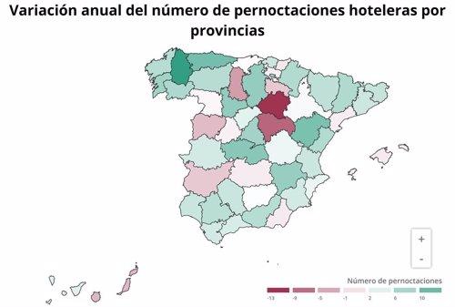 EpData.- Las pernoctaciones hoteleras en julio, en mapas y gráficos