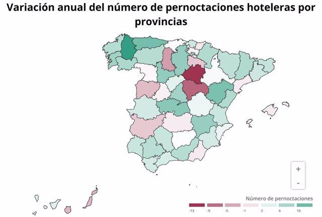 Mapa de la variació anual del nombre de pernoctación hoteleres al juliol de 2019 (INE)