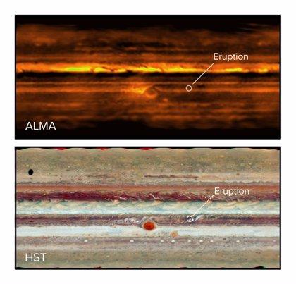 Las tormentas perturban los coloridos cinturones de Júpiter