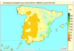 La falta de lluvias acumulada en el conjunto de España es del 16% pero en la mayor parte de España supera el 25%