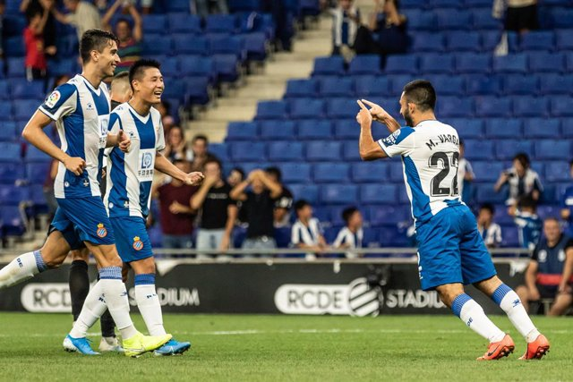Matías Vargas, #22 of RCD Espanyol celebrating the goal  during the UEFA Europa League Play-Off, 1nd leg match between RCD Espanyol and FC Zorya Luhansk at RCDE Stadium, in Barcelona, Spain. August 22, 2019.