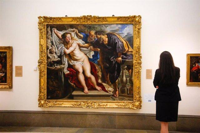 Obra de Rubens restaurada 'Susana y los viejos' expuesta en la Real Academia de Bellas Artes de San Fernando de Madrid.