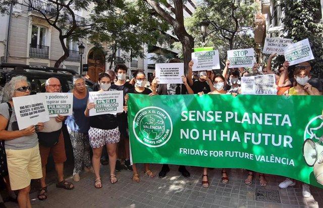 Concentración 'Sos Amazonas. Convocatoria Mundial Justicia Climática Ya' ante el Consulado de la República Federativa de Brasil en València.