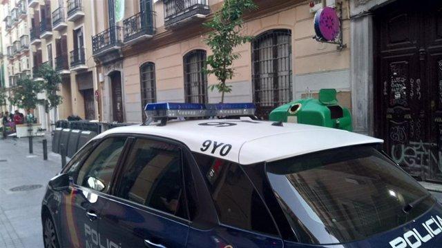Una patrulla de la Policía Nacional en el centro de Málaga