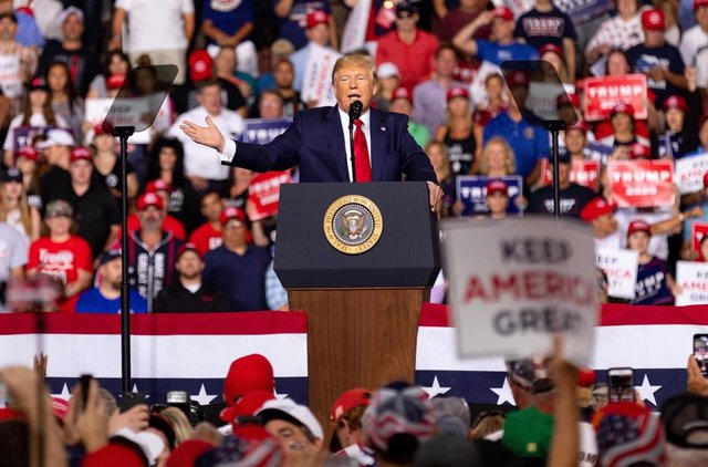August 15, 2019 - Manchester, New Hampshire, United States: US President Donald Trump campaigns at Southern New Hampshire University Arena in Manchester, New Hampshire, USA. (Keiko Hiromi/Contacto)