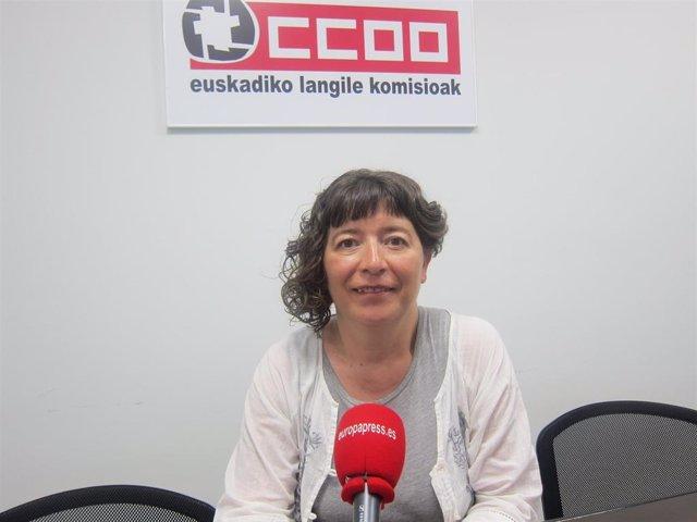 La secretaria general de CC.OO. Euskadi, Loli García, en declaraciones a Europa Press