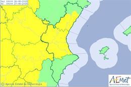 Avisos amarillos por lluvias en la Comunitat el lunes