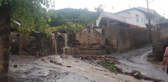 Daños causados por lluvias y granizo en la provincia de Ourense.