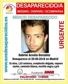 Buscan a un menor de 16 años desaparecido desde el martes en Madrid.