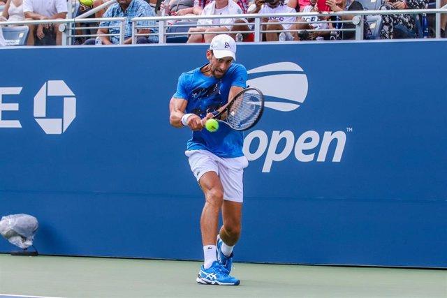 Novak Djokovic, durante un entrenamiento.