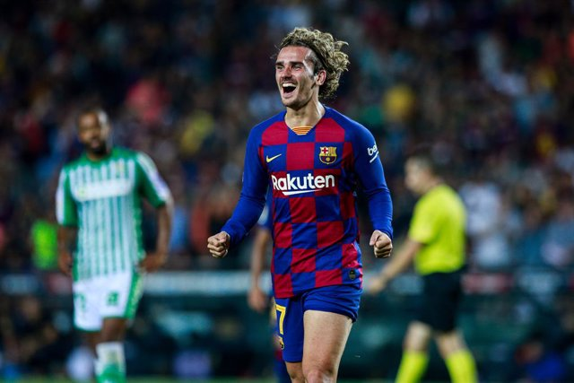 17 Antoine Griezmann from France of FC Barcelona celebrating his goal during the La Liga match between FC Barcelona and Real Betis Balompie in Camp Nou Stadium in Barcelona 25 of August of 2019, Spain.
