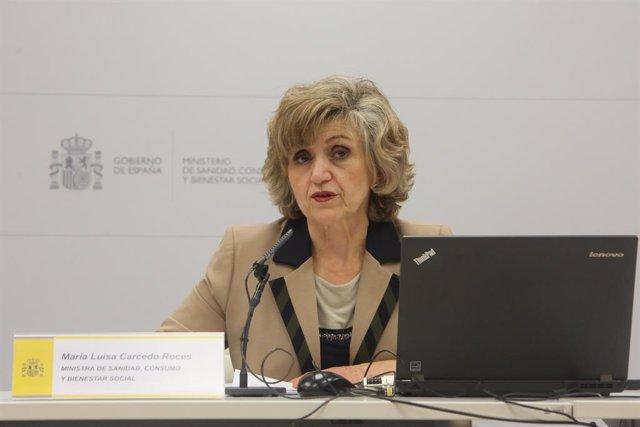 La ministra de Sanitat, Consum i Benestar Social, María Luisa Carcedo, ofereix una roda de premsa.sobre la pobresa infantil, en el Ministeri de Sanitat