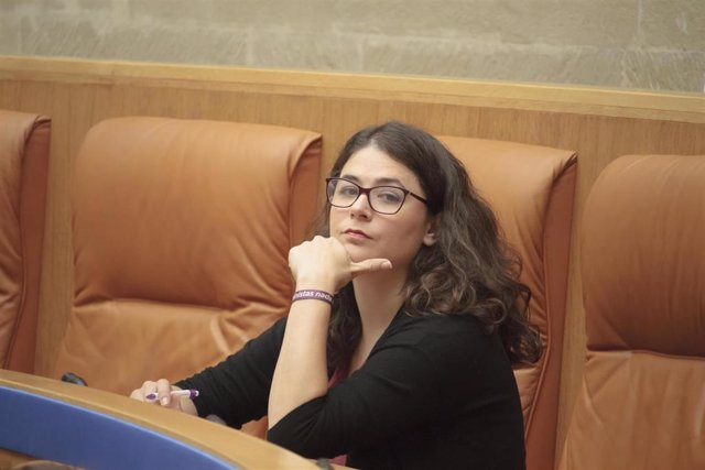 La diputada de Podemos-Equo, Raquel Romero Alonso, durante la primera sesión del debate de investidura de la candidata socialista, Concha Andreu, como presidenta de La Rioja.